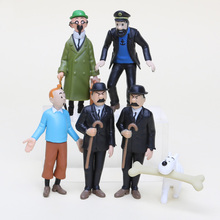 6Pcs/Lot Anime Cartoon 4-9cm The Adventures of Tintin PVC Action Figures Collectible Model Toys Gifts For Kids(China)