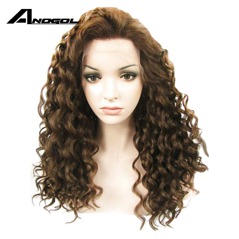 Anogol High Temperature Fiber Peruca Cabelo Afro Wigs Dark Brown Long Kinky Curly Synthetic Lace Front Wig For Black Women