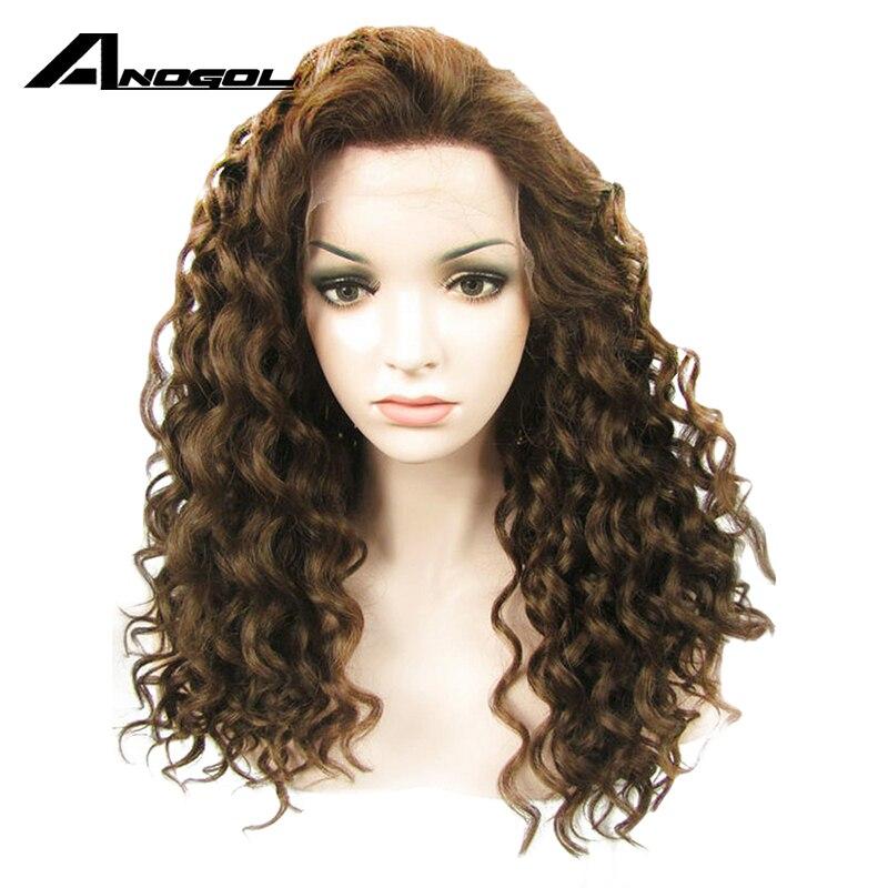 Anogol fibra de alta temperatura peruca cabelo afro perucas marrom escuro longo kinky encaracolado peruca dianteira do laço sintético para preto