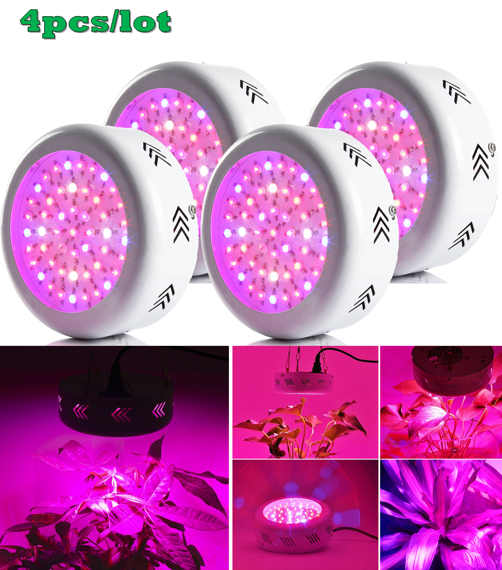 ФОТО 4pcs UFO 150W Led Grow Light Full Spectrum 50X3W Led Chip Plant Growing Lamp for Flower Vegetables, Express Free Shipping