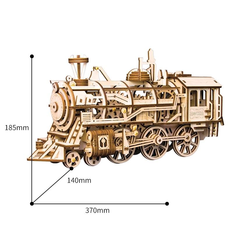 Décor à la maison Figurine bricolage artisanat en bois horloge Locomotive Vintage Train modèle Kits décoration cadeau pour enfants adultes LK701 - 2