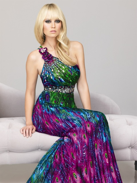 5a77141023 Sexy Peacock Print BouffancyWomen Prom Dress Beaded One Shoulder Satin  Straight Long Prom Party Gowns Dress