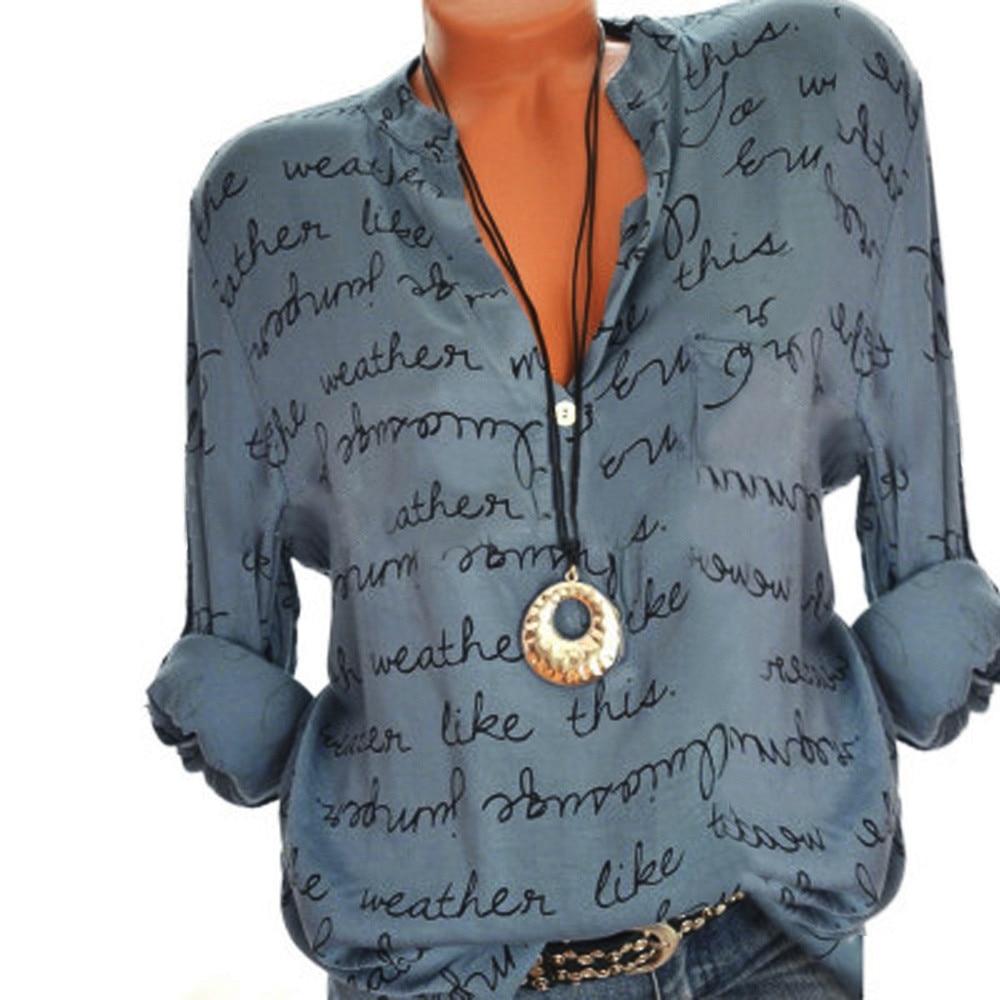 Auttumn women clothing women plus size 5xl v-neck button long sleeve letter blouse pullover shirt