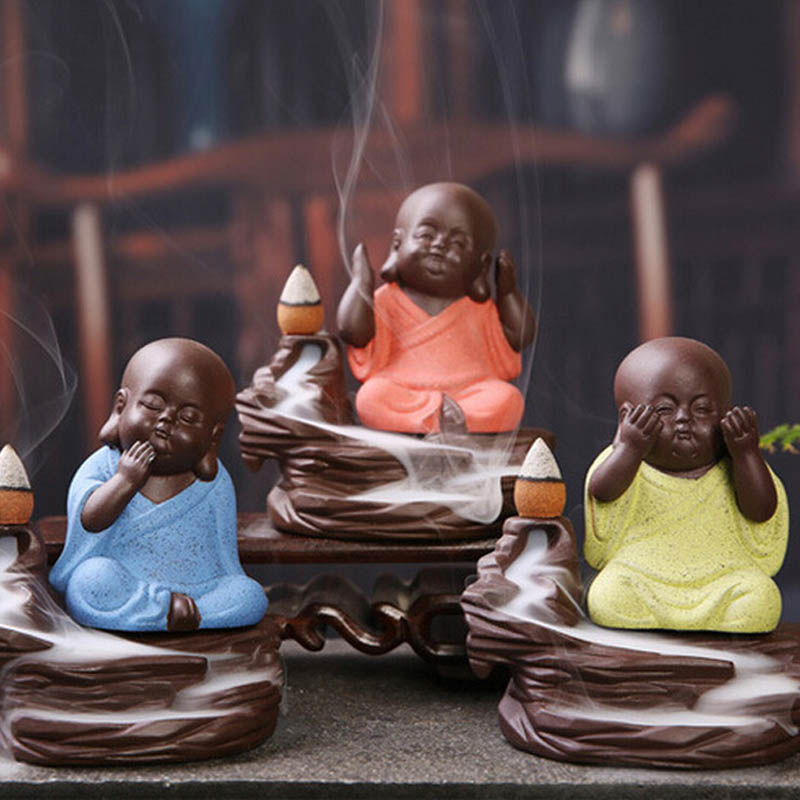 3 Style Chinese Style Zen Meditation Tea Ceramic Miniatures Funny Little Monk Mandala Clay Buddha Statue Incense Burner Figurine gold metal duvar saati