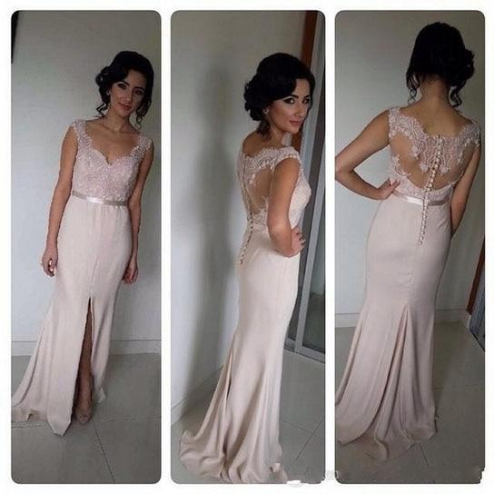 Long pastel pink bridesmaid dresses