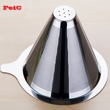 FeiC 1pc Double Layer Stainless Steel Drip Coffee Filter Reusable no paper filter for Hario V60 Chemex