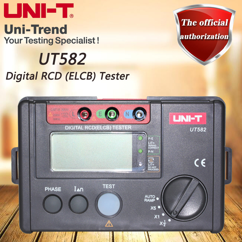 UNI-T UT582 leakage protection switch tester, Digital RCD (ELCB) Tester, digital phase switch, AUTO RAMP function, misuse prompt 4 8 days arrival uni t ut582 digital rcd elcb testers meter auto ramp leakage circuit breaker