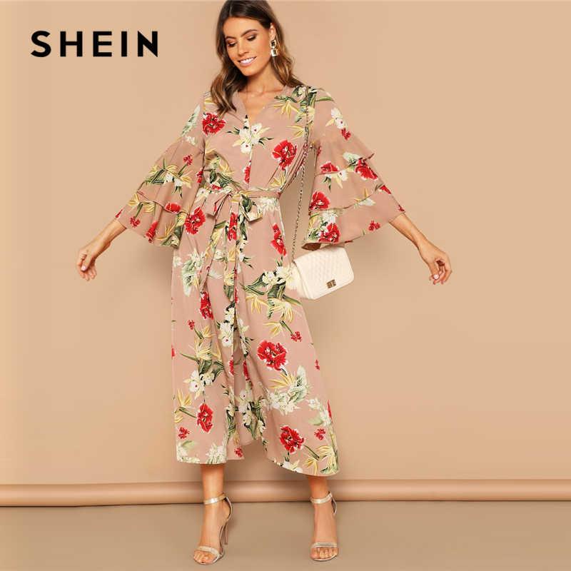 b48675d918 SHEIN Bohemian Beach Multicolor Layered Sleeve Belted Floral Kimono Women  Elegant 2019 Long Sleeve Longline Spring