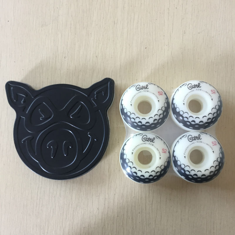 PIG ABEC-5 Skate Board Bearings Packaged With Pig Graphics Black Boxes And GIRL 51mm Or 52mm  Plastic Skateboard Wheels