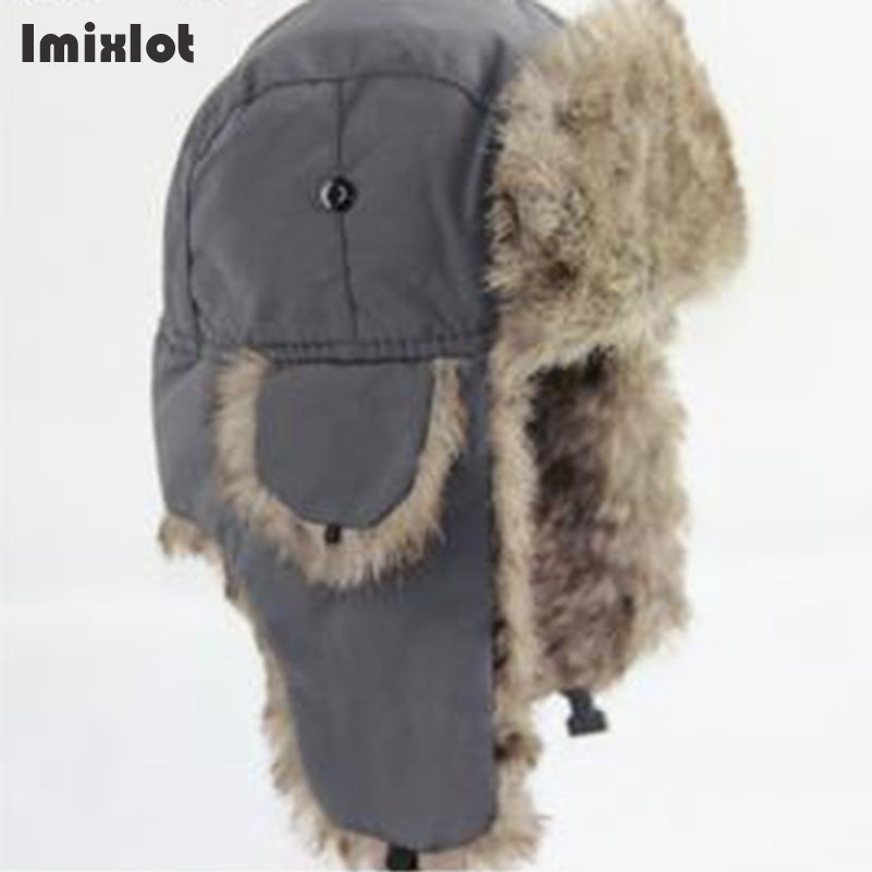 7e33358281a Mens Winter Hats Ear Flaps Bombe Ushanka Russian Hat Warm Solid Color Men  Cap Cozy Fake Fur Hero Caps Del Sombrero Hutting-in Men s Bomber Hats from  Apparel ...