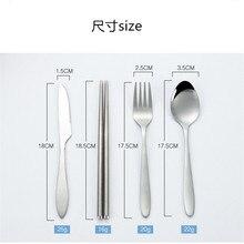 Cutlery set three piece bag knife chopsticks portable stainless steel tableware kids spoon fork travel utensil