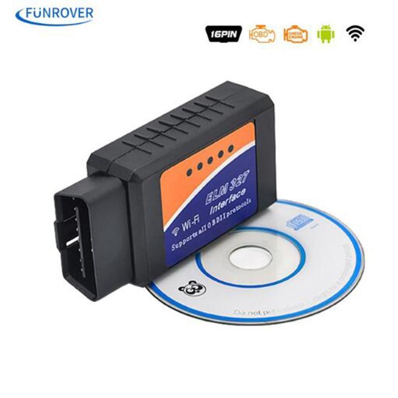 Free Shipping WiFi ELM327 OBD2 OBD II Car Auto Diagnostic Scanner Scan High Quality Auto Diagnostic Tool ELM 327 OBDII OBD2 konnwei c mini bluetooth wireless wifi obd ii car auto diagnostic scan tools