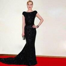 Doragrace Custom Made Cap Sleeve Backless Black Sequins Evening Dresses Mermaid Celebrity Dresses Plus Size