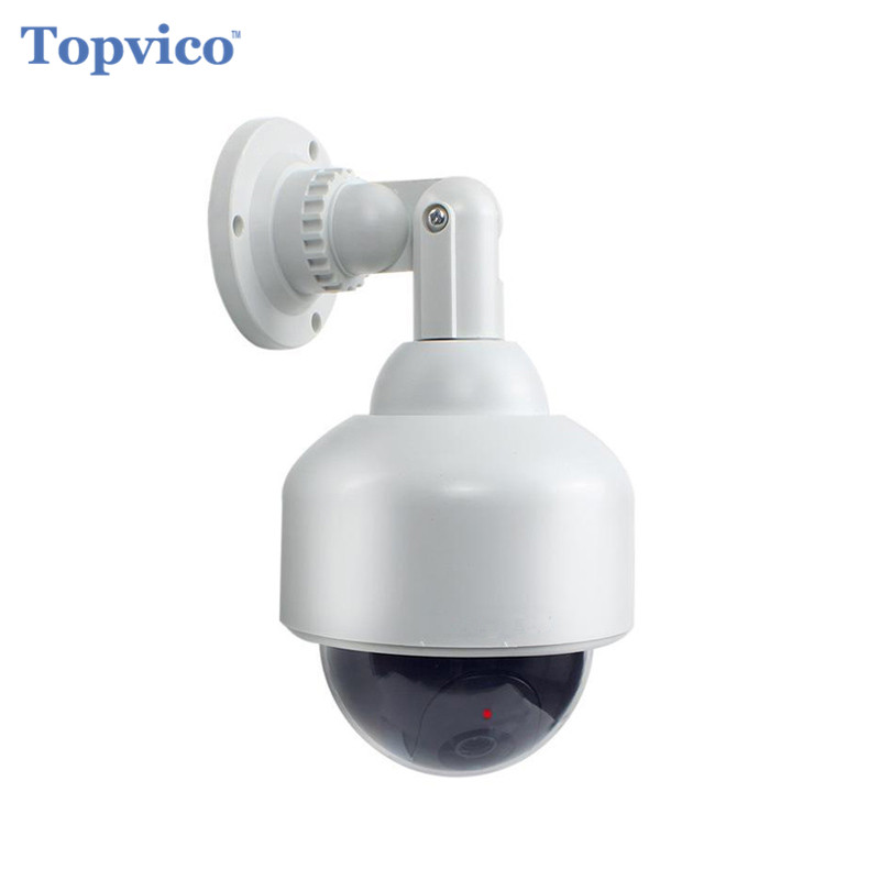 Topvico Dummy Camera PTZ Speed Dome Battery Powered Flicker Blink LED Fake Outdoor Surveillance Security Camera Cctv Camera