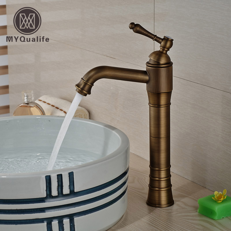 все цены на Antique Brass Single Handle Bathroom Basin Mixer Tap One Hole Sink Faucet онлайн