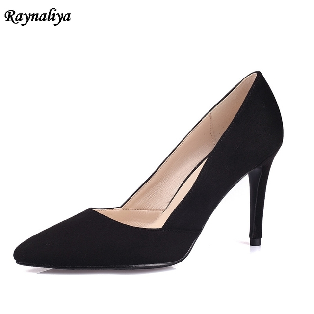 565cd2fe5cf Cute Small Size Women Black Pumps Genuine Leather Pointed Shoes Sexy High  Heels Party Shoes Top