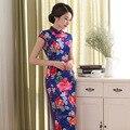 2017 New Hot Women Short Sleeves Sexy Slim Vestidos Vintage Qipao Cheongsam Flower Printing Chinese Traditional Dress