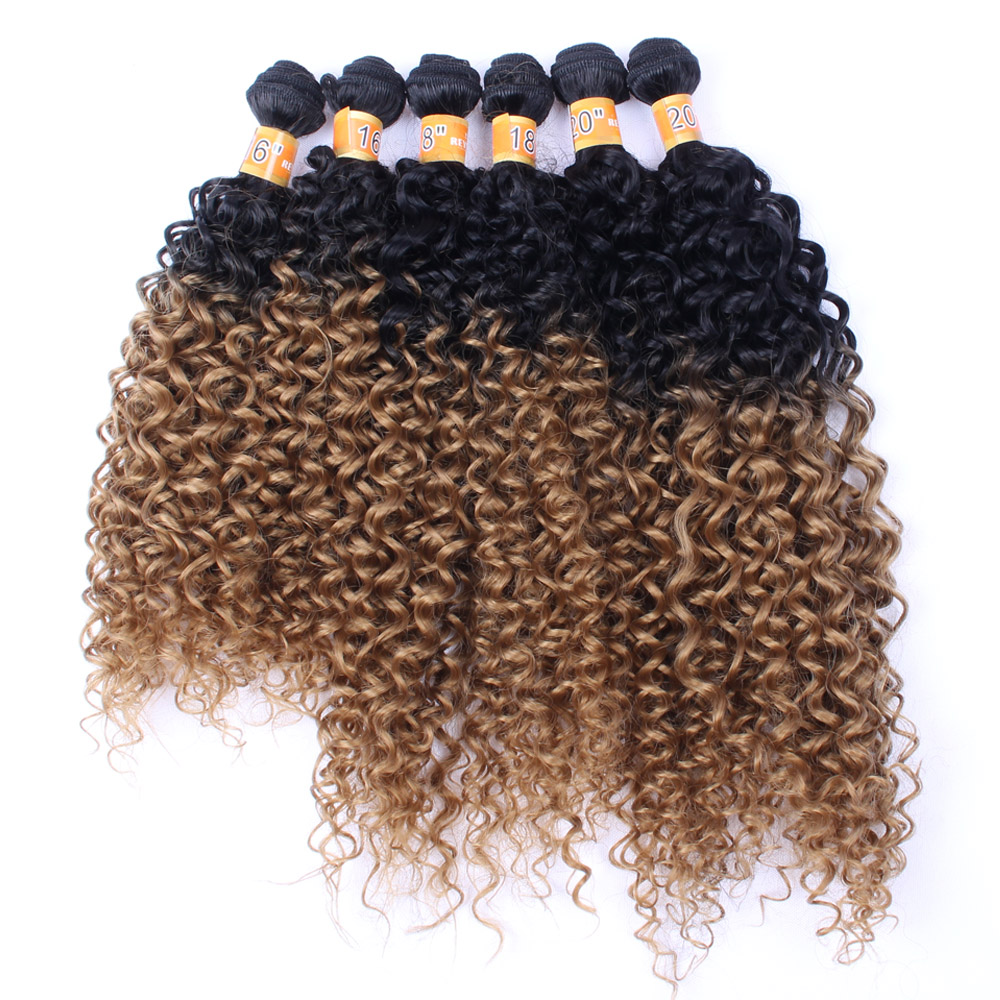 "Delice 16-20"" Synthetic Hair Weave Women's Kinky Curly Hair Weaving Ombre Hair Extensions 6bundles/pack(China)"