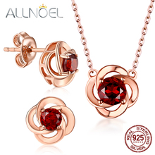 ALLNOEL Garnet Gemstone Fine Jewelry Sets For Women Necklace Earrings 100% Sterling Silver 925 Rose Gold Wedding Prevent allergy