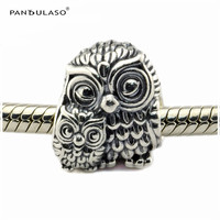 Charming Owls Mother and Child Bead Fit European Silver Charm Bracelet 925 Sterling-Silver-Jewelry Woman Bead DIY Wholesale