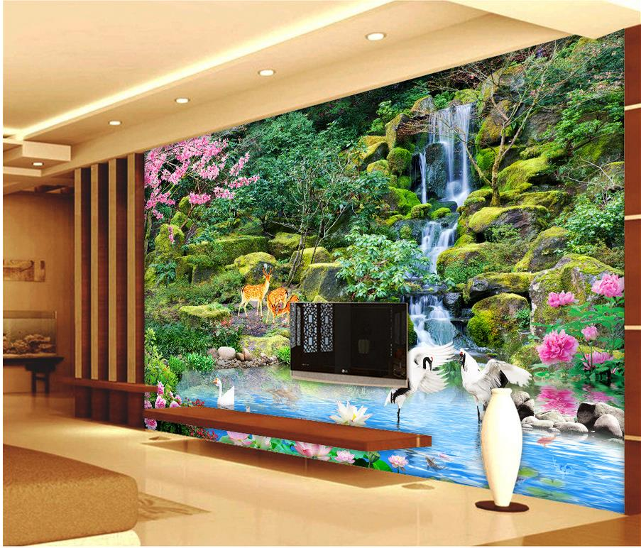Scenic Waterfall Crane Tv Backdrop Photo Wallpaper For Walls Home Decoration Customized In Wallpapers From Improvement On