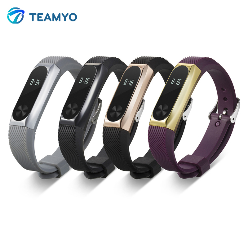 TEAMYO Xiaomi Mi Band 2 Bracelet Strap Miband 2 Colorful Metal Strap Wristband Replacement Smart Band Accessories For Mi Band 2