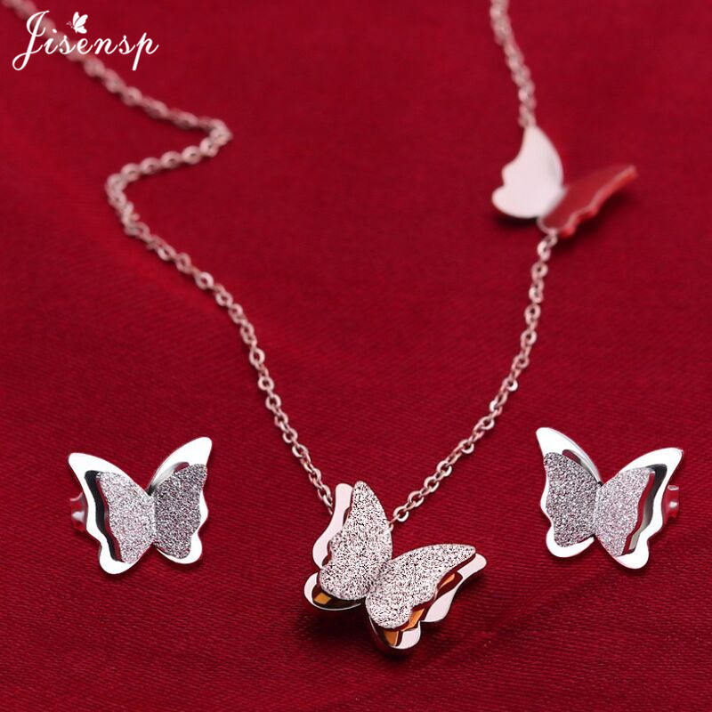 Jisensp Necklace Earrings-Sets Choker Stainless-Steel Butterfly Women Animal For Elegant