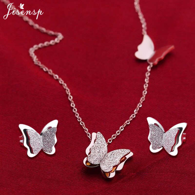 Jisensp Stainless Steel Jewelry Set Butterfly Necklace for Women Elegant Animal Necklace Earrings Sets Choker Necklaces bijoux