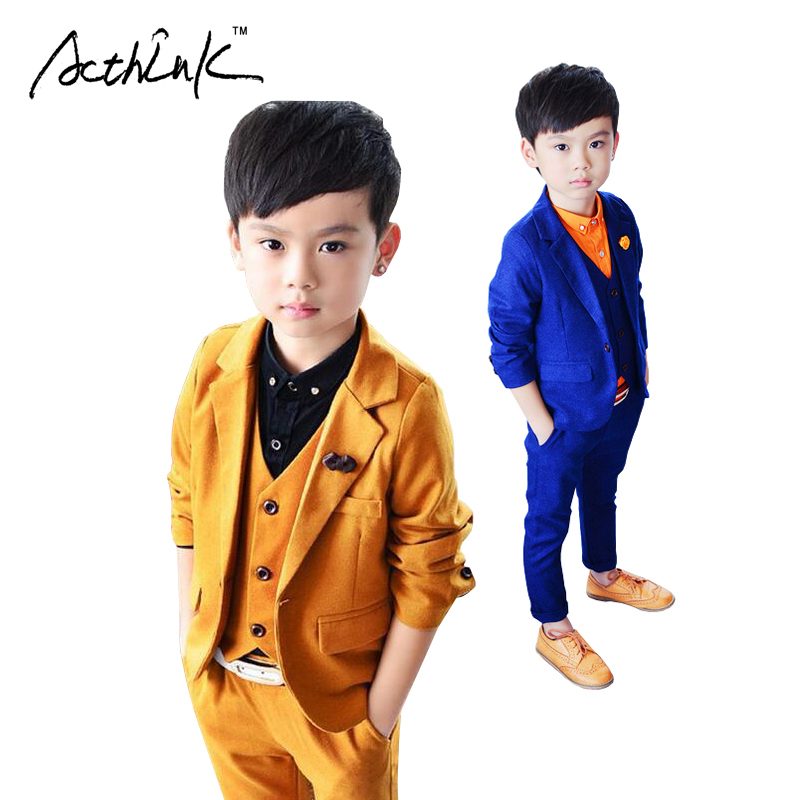 ActhInK New Kids 3PCS Vest+Pant+Blazer Solid Suit for Boys Formal Party Dress Suit with Breastpin Flower Boys Wedding Suit,MC023 bb1 детям