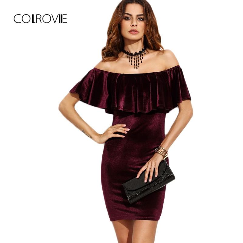 f3b88bf2ded75 COLROVIE Ruffle Off The Shoulder Velvet Bodycon Dress Sexy Women Short  Sleeve Club Wear Mini Dress Burgundy Party Winter Dress