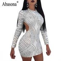 Abasona Women Sequin Dress Vintage Striped Long Sleeve Bodycon Short Dress Evening Party Club Sexy Cut