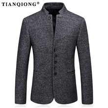 TIAN QIONG Men Wool Blazer Designs Stand Collar Blazer Masculino Slim Fit Korean Fashion Business Formal Casual Suit Jacket(China)