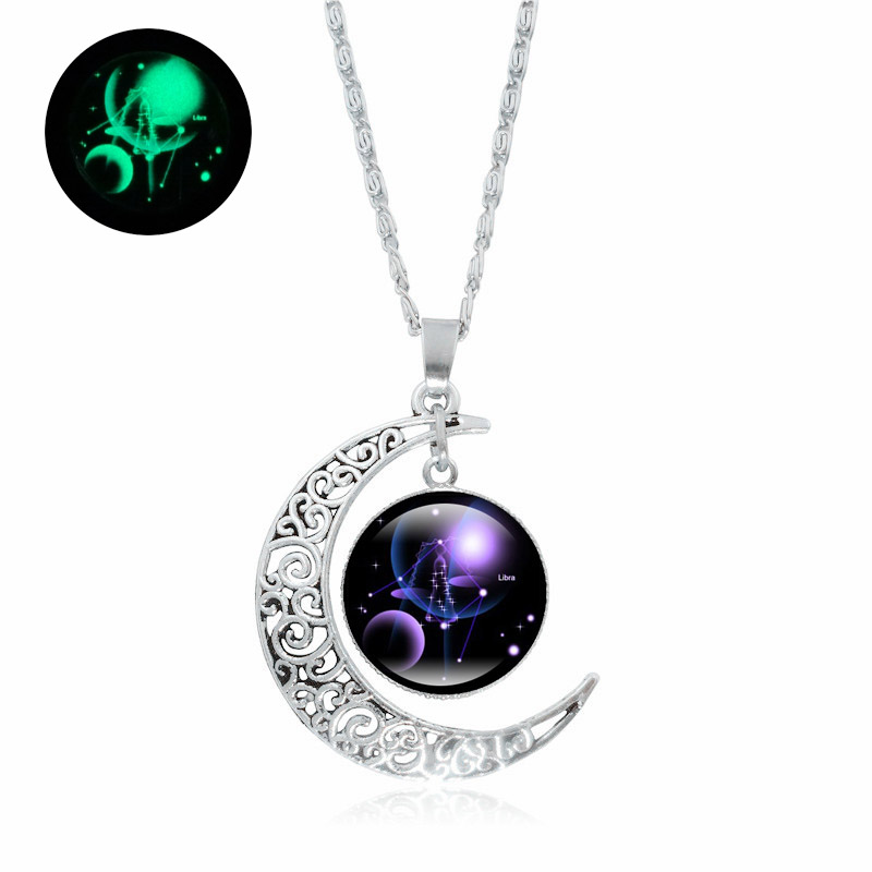 Glow In The Dark 12 Constellation Necklace Zodiac Jewelry Glass Dome Silver Crescent Moon Pendant Luminous Necklace Family Gifts