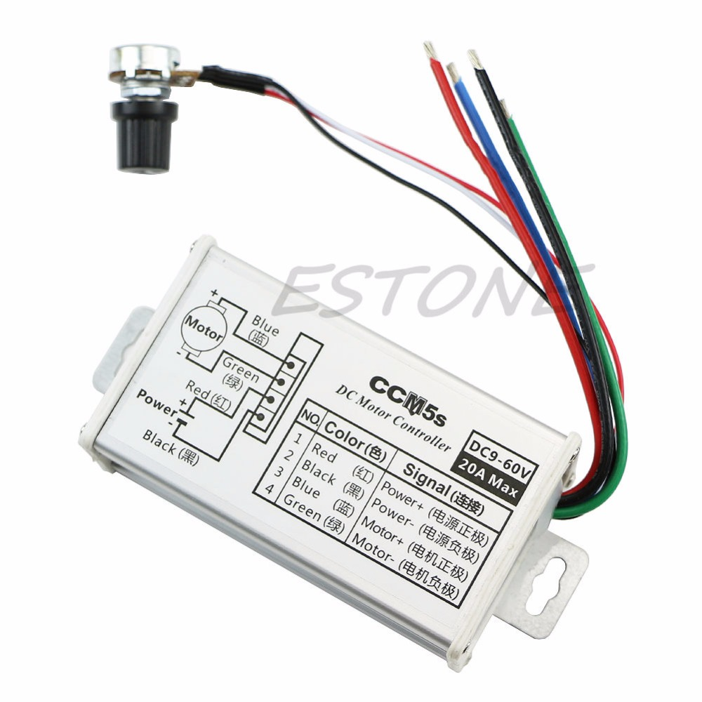 DC 9V 12V 24V 48V 60V 20A Motor Speed Controller Regulator Driver PWM 25KHz Touch Switch L15 panlongic hand twist grip hall throttle 100a 5000w reversible pwm dc motor speed controller 12v 24v 36v 48v soft start brake
