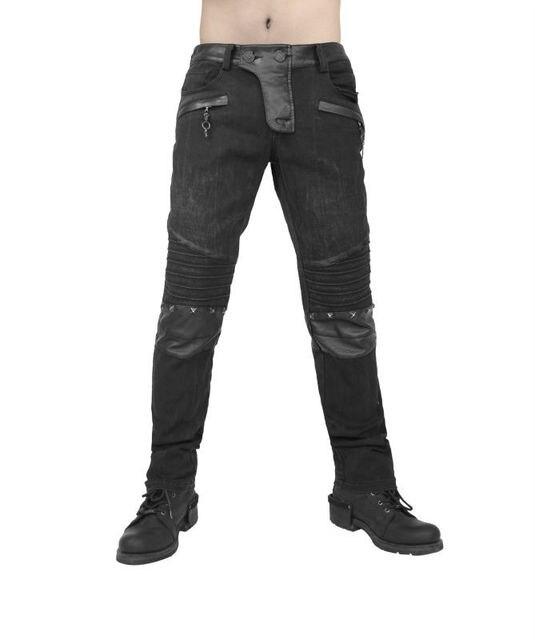 Мужчины долго брюк с саржевого ткани и офсетная печать на колено пун брюки