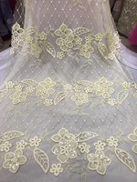 French Lace Fabric With paillette For Bridal Dress Sewing French Fabric Cheap African Lace French Lace Leaf Fabric