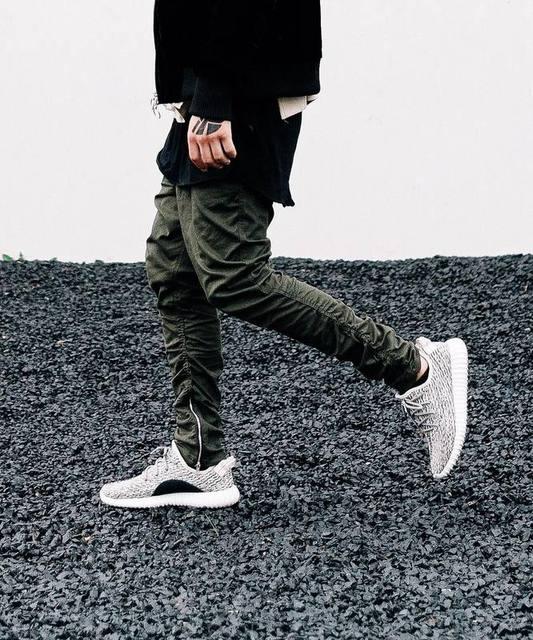 Preto / verde coreano hip hop moda calças com zíperes conexão fábrica de roupas dos homens urban corredores temor de deus homens yeezys