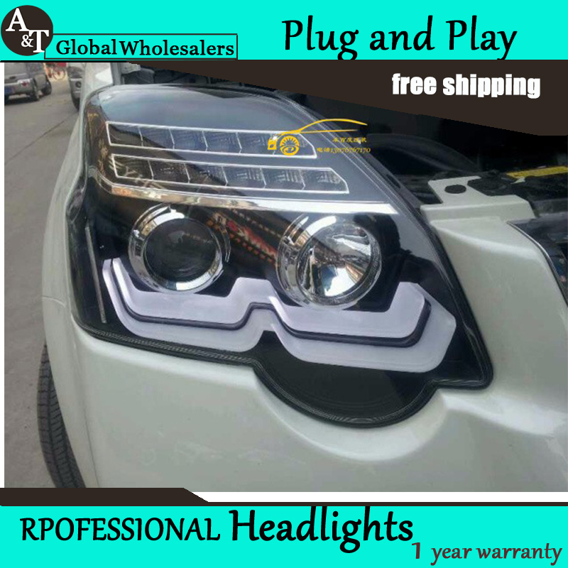 Car Styling for Nissan X trail LED Headlight 2012 2014 New Design LED DRL Lens Double