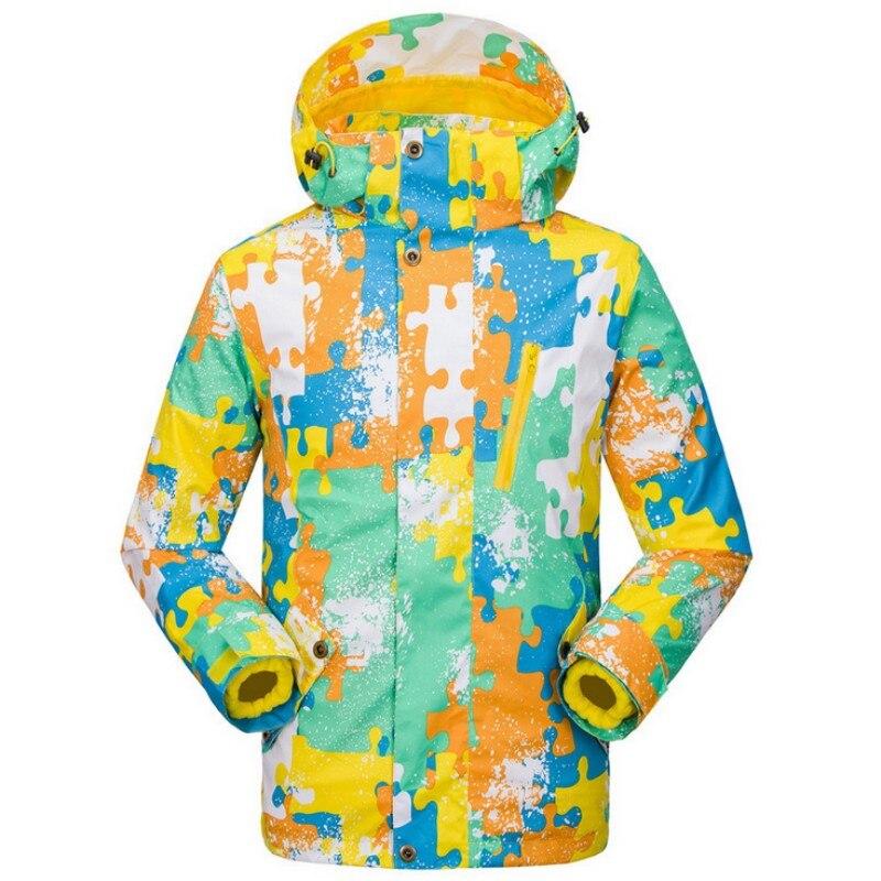 Hiver deux pièces enfants Camouflage thermique snowboard vestes imperméables ski manteaux à capuche Zipper sports de plein air vestes