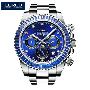 LOREO Men Automatic Mechanical Watch Luxury Brand Men Fashion Man Multifunctional Luminous 200M diving Watchse relogio masculino