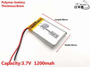 Image 2 - 2pcs/lot Good Qulity 3.7V,1200mAH,803048 Polymer lithium ion / Li ion battery for TOY,POWER BANK,GPS,mp3,mp4