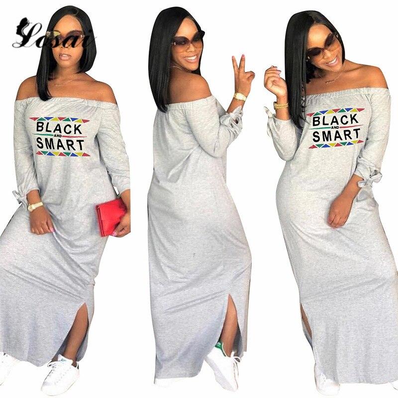 Mulheres Fora Do Ombro Barra Pescoço Vestido Solto Preto Smart Vestidos de Impressão Casual Vestido de Divisão Inferior Dropshipping Vestido Maxi Plus Size