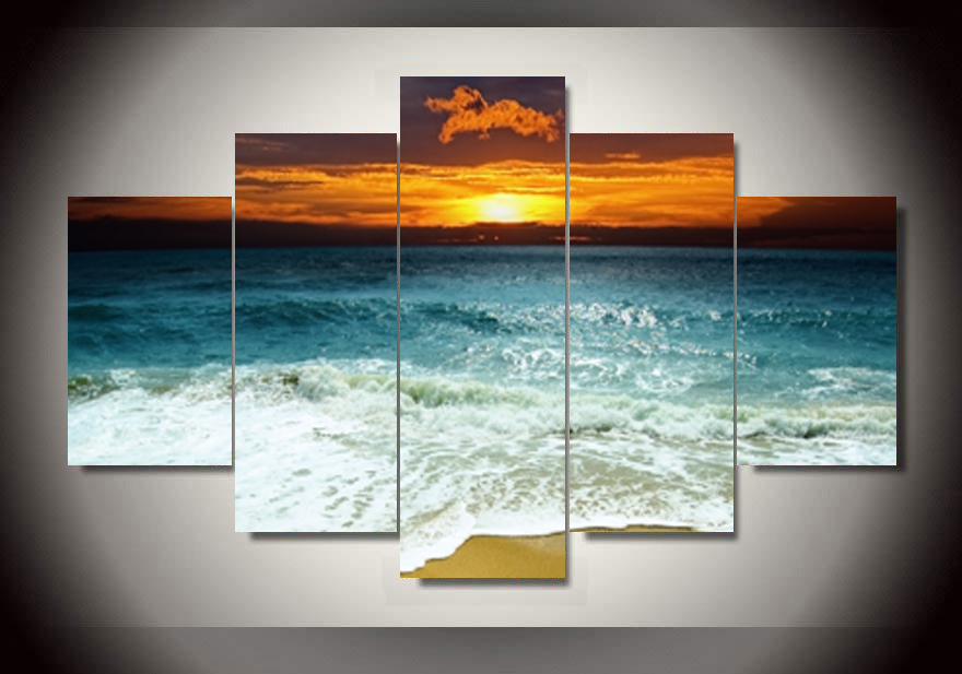 5 Panel Sunrise On The Sea Canvas Print Painting For