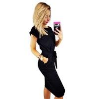 BEFORW New Fashion Ms Dress Elegant Sexy Dress Short Sleeve Round Neck Dress Bow TieBandages Decoration