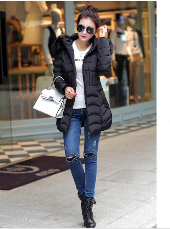 2018 women's Slim was thin coat big hair collar winter coat tops new feather cotton women   basic     jacket   coat 201867