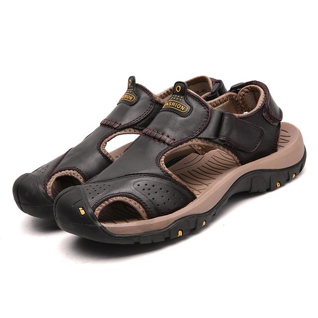 Men Sandals Genuine Split Leather Men Beach Roman Sandals Brand Men Casual Shoes Flip Flops Men Slippers Sneakers Summer Shoes