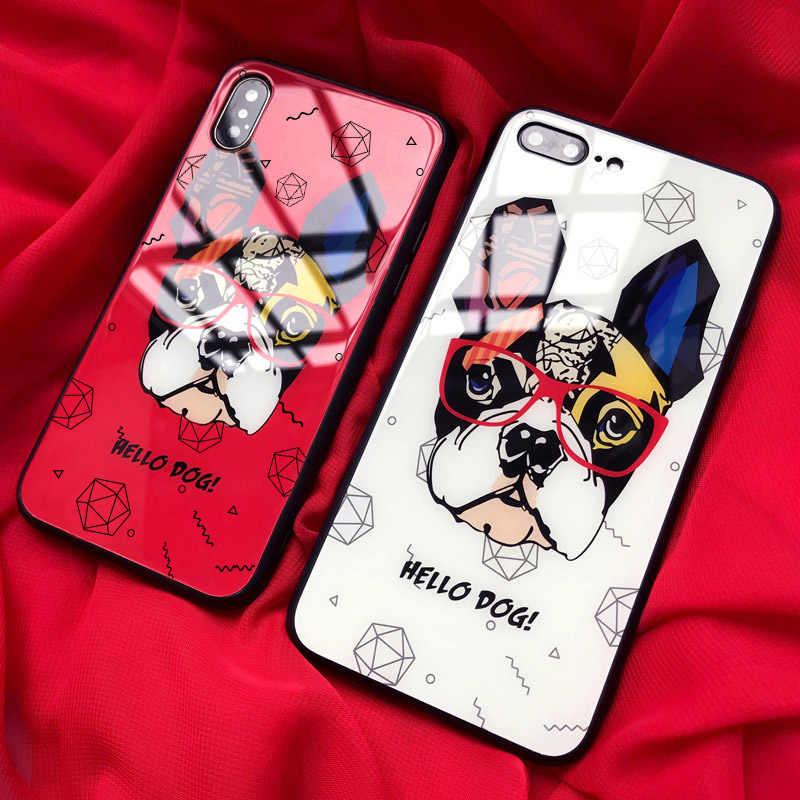 IRONGEER מצחיק צרפתית בולדוג מקרי טלפון עבור iphone 7 8 בתוספת 11 מזג זכוכית מקרה עבור iphone 6 6S בתוספת X XS כיסוי אחורי פגז