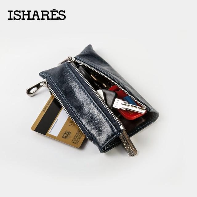 ISHARES marque concepteur papier ciré en cuir zip 3 couleurs clés portefeuilles femmes simple supérieur en cuir véritable porte-clé de carte IS6020