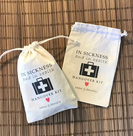 In Sickness And Health Birthday Wedding Favor Bags Bridesmaid Bachelorette Hangover Recovery Survival Kit Party