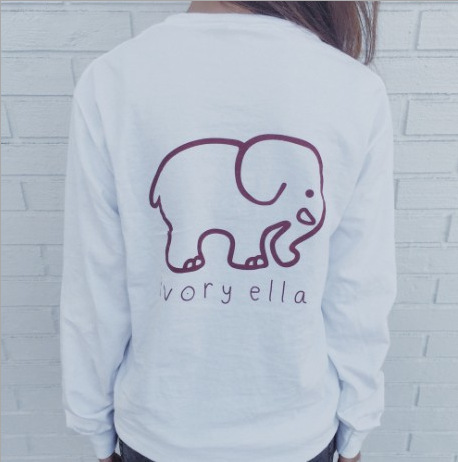 c7da548891f52 Fashion Long Sleeve Ivory Ella Animals Elephant Printing Womens T shirts  Full O Neck Straight Ladies Tops Multi color Plus Size-in T-Shirts from  Women s ...